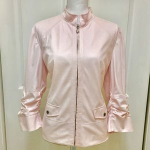 Chico's | Light Pink Zip Up Textured Jacket | Sz L
